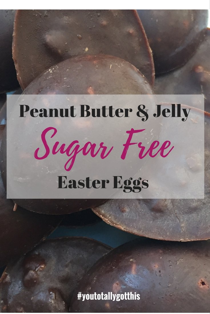 Looking for a healthy Easter treat? Check out these sugar free Easter eggs. They are peanut butter and jelly flavoured, and absolutely delicious | http://www.youtotallygotthis.com/sugar-free-peanut-butter-and-jelly-easter-eggs/ | #easter #sugarfree #peanutbutter