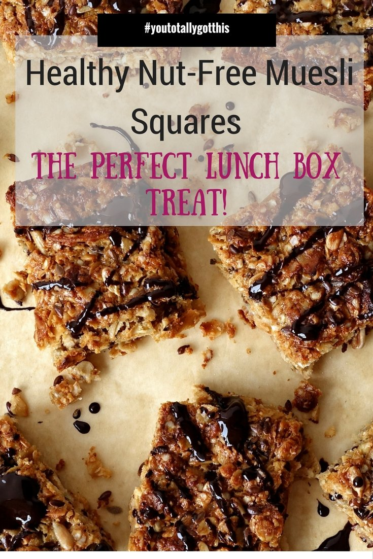 These healthy nut- free muesli squares are low on sugar and there perfect lunchbox snack | http://www.youtotallygotthis.com/healthy-nut-free-muesli-squares/ | #healthy #sugarfree #schoolsnack