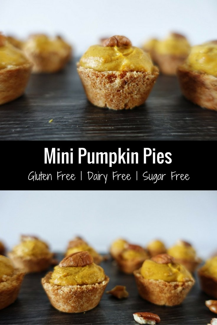 These healthy mini pumpkin pies are the perfect holiday treat. They are gluten free, dairy free, sugar free and vegan friendly. Get the recipe here | #vegan #holidays #thanksgiving