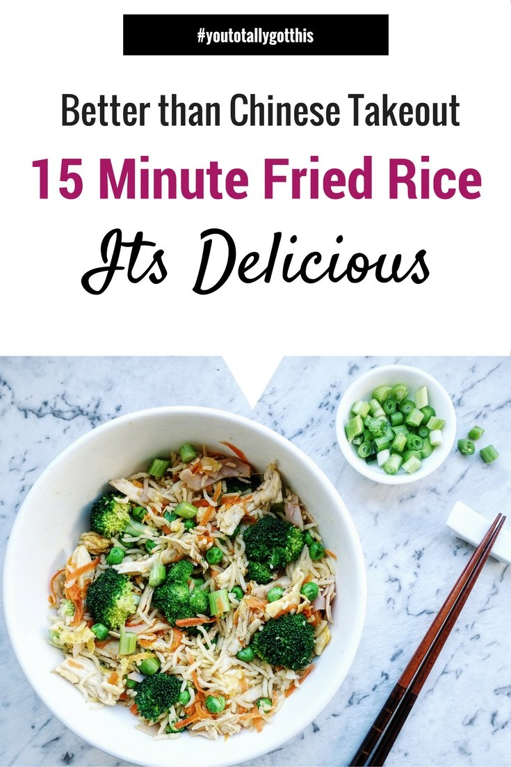 You will never order Chinese takeout again. This 15 Fried Rice is a quick and healthy weeknight meal that is delicious! | http://www.youtotallygotthis.com/15-minute-fried-rice-seriously/