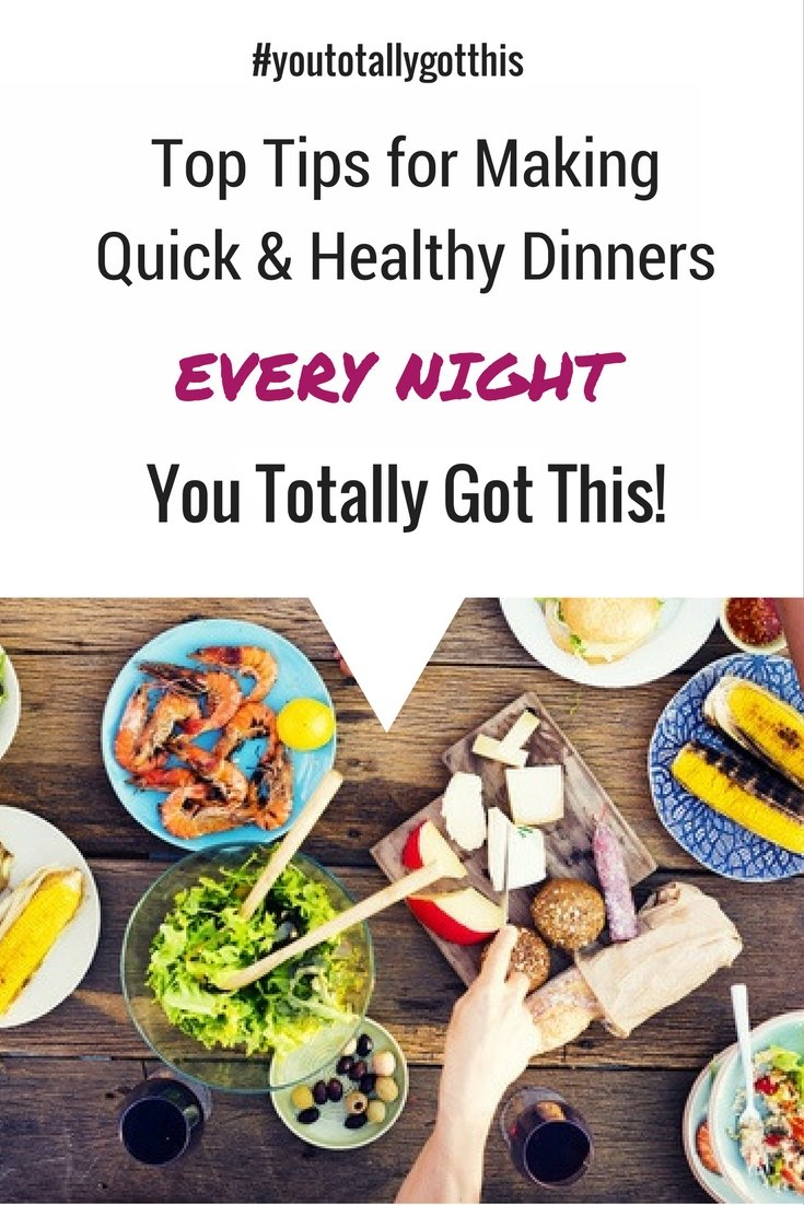 All the tips you need to get a quick and healthy dinner on the table every night. Stress free weeknights start here! | https://www.youtotallygotthis.com/healthy-and-delicious-weeknight-meals-you-got-this | #healthy #dinner