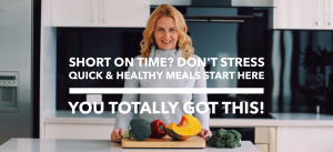 Rani Hansen in Kitchen Cutting Vegetables - Short on Time? Don't Stress Quick & Healthy Meals Start Here - You Totally Got This!