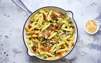 Smashed Broccoli and Prosciutto Pasta – Dinner in a Flash!