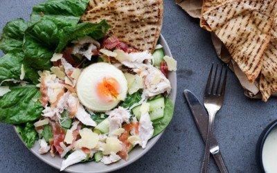Easy Chicken Caesar Salad with Crispy Garlic Pita Chips