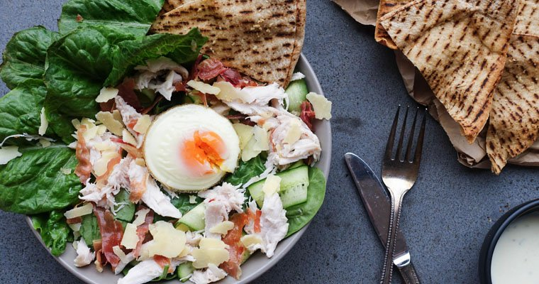 Easy Chicken Caesar Salad with Crispy Garlic Pita Chips