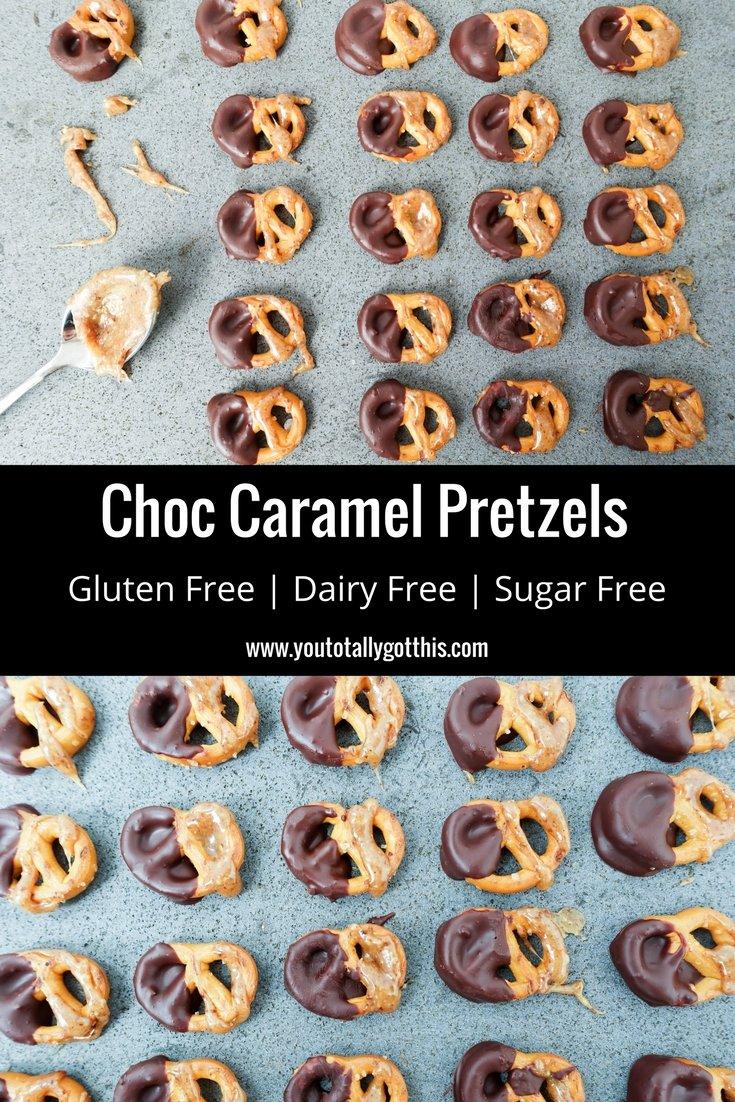Choc Caramel Pretzels - Gluten Free, Sugar Free, Dairy Free