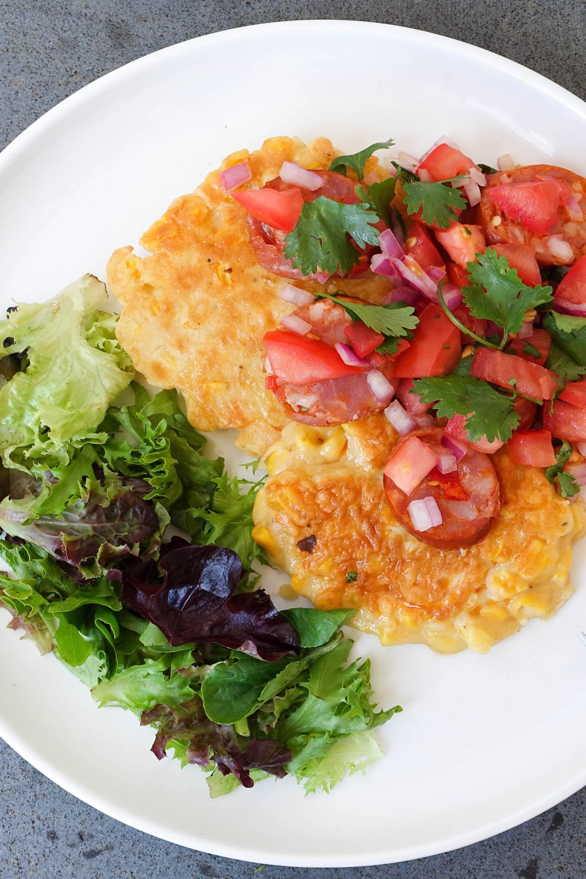Healthy Sweet Corn Pancakes with Chorizo Salsa - You Totally Got This - Quick & Easy Recipe