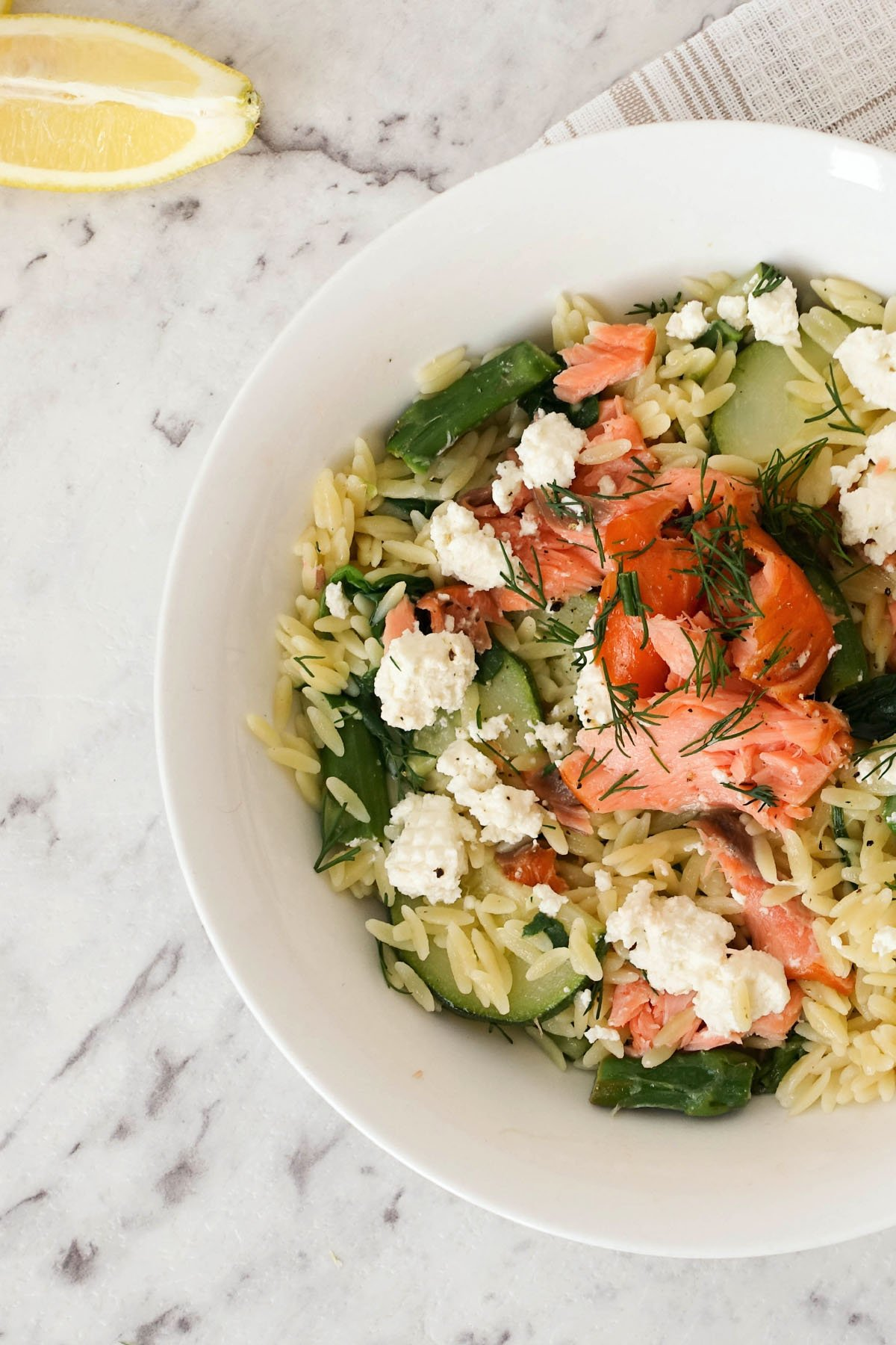 Risoni with Smoked Salmon, Ricotta & Garden Veggies - You Totally Got This - Quick & Easy Recipe