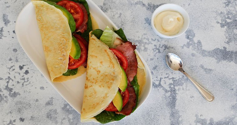 Quick & Easy Crepe Recipe with Bacon Lettuce Avocado Tomato