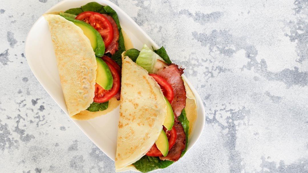 Quick & Easy Crepe Recipe with Bacon Lettuce Avocado Tomato