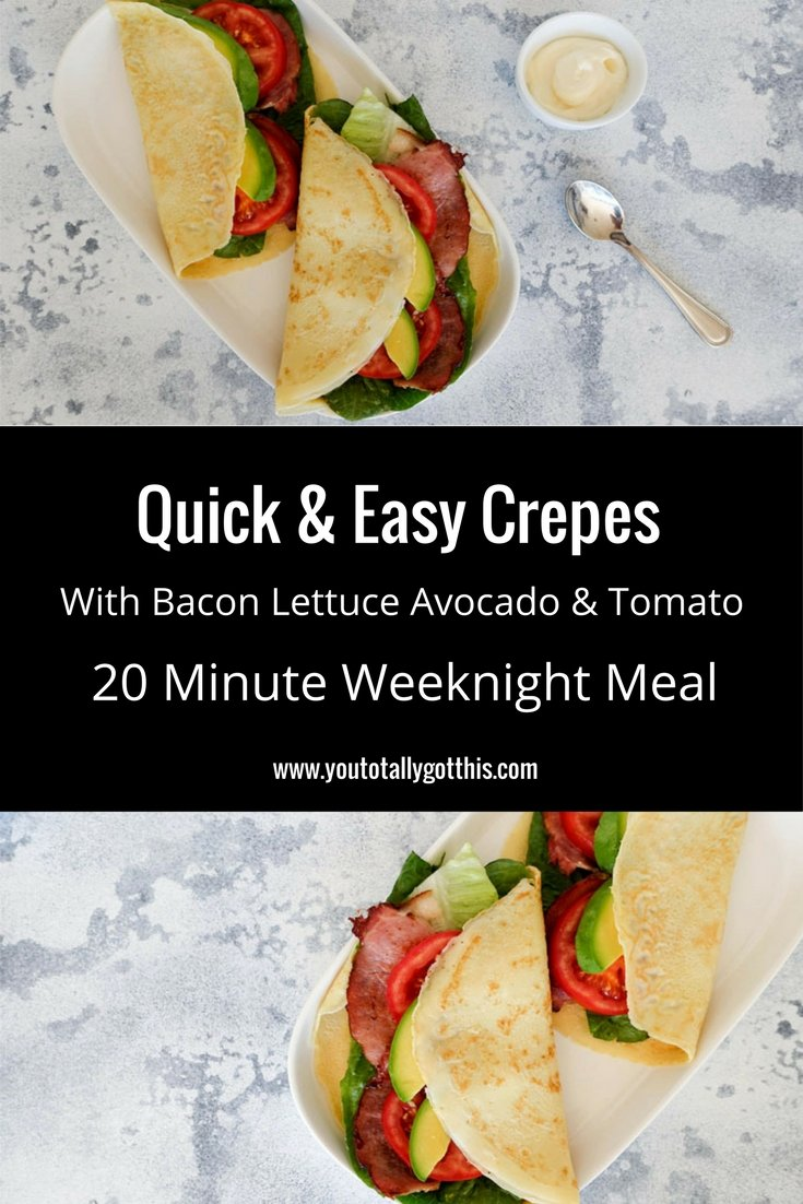 Quick & Easy Crepes Recipe with Bacon Lettuce Avocado & Tomato