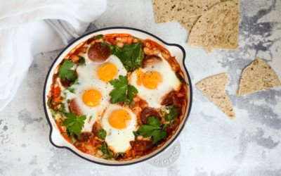 One Pan Baked Eggs with Chorizo – Yes, You Can  Eat Eggs for Dinner