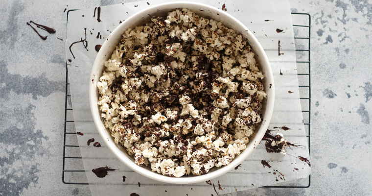 Salted Dark Chocolate Popcorn - Easy Party Snacks