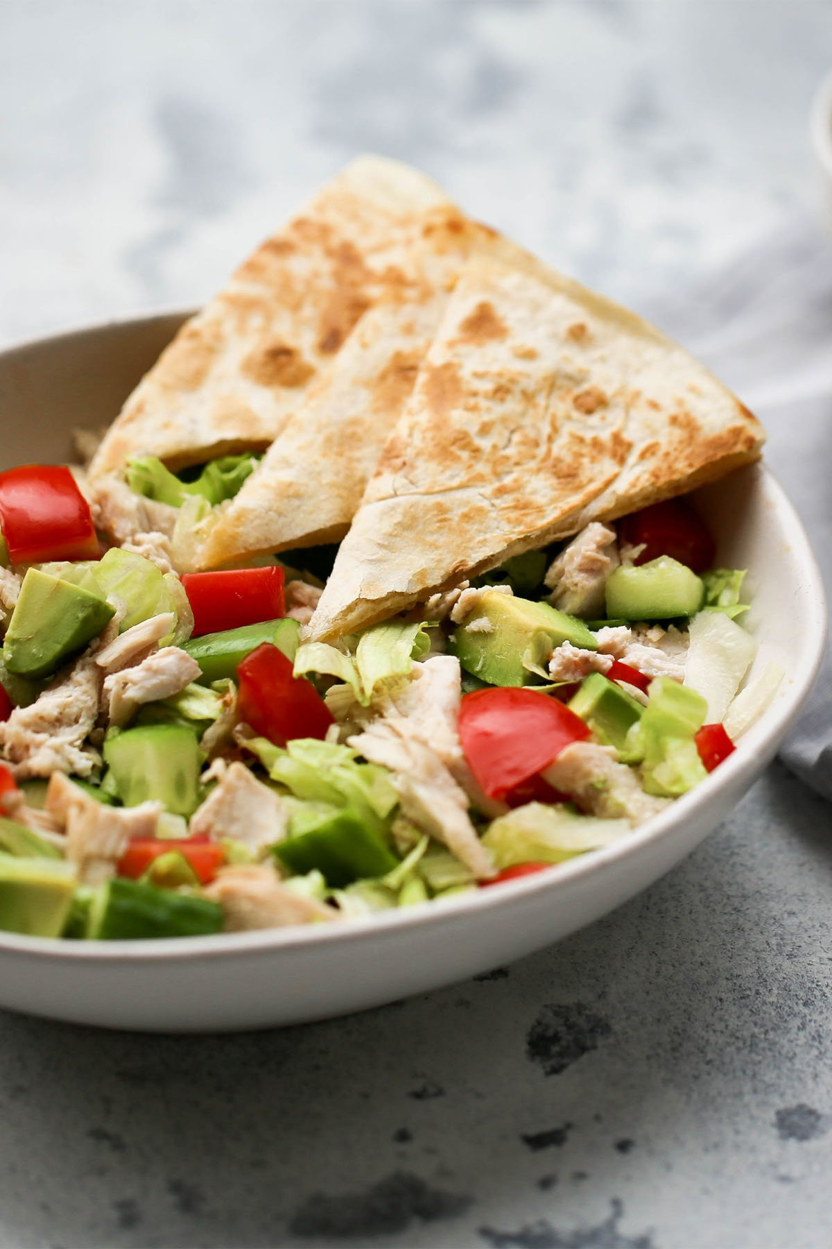 Chopped Chicken + Cheesy Chicken Quesadilla Salad - You Totally Got This - Quick & Easy Dinner Recipes