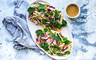 Chicken Satay Salad Flatbreads