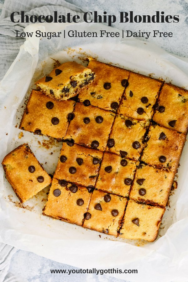 Chocolate Chip Blondies Recipe - You Totally Got This - Low sugar Dessert