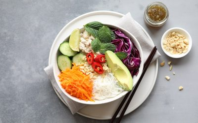 Rice Paper Roll in a Bowl