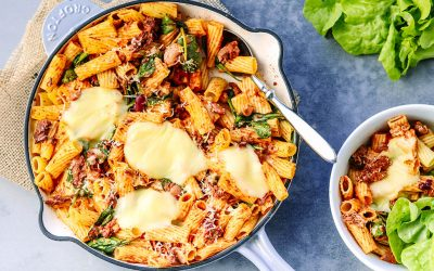 Cheesy Slow Cooked Beef + Bean Pasta Bake